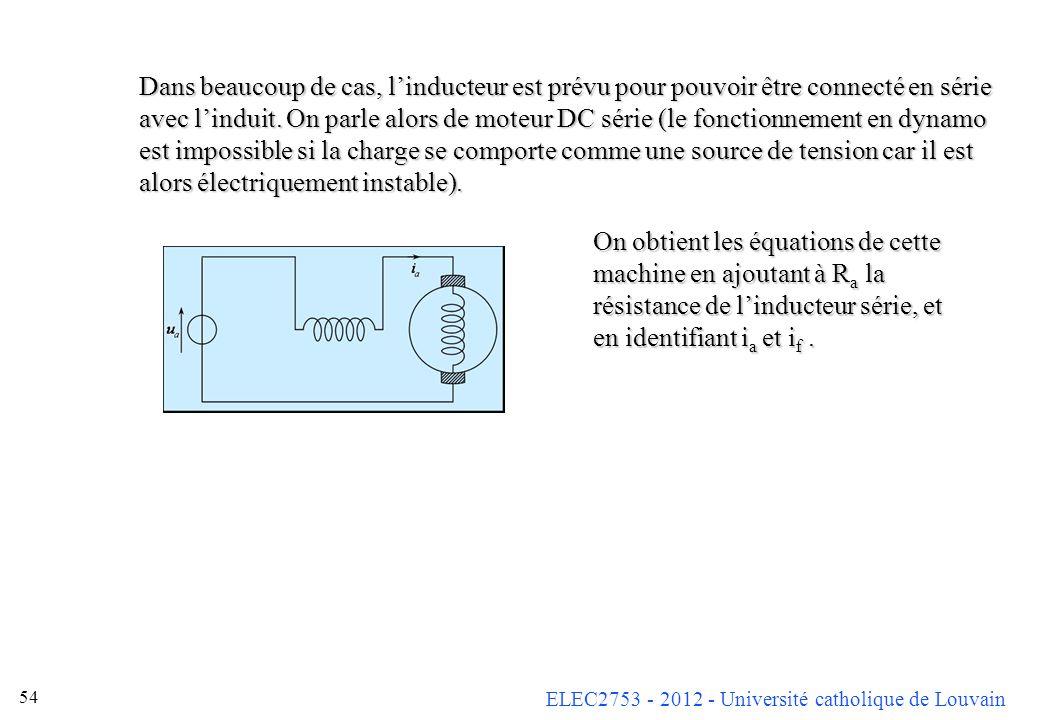 Dans beaucoup de cas, l'inducteur est prévu pour pouvoir être connecté en série avec l'induit. On parle alors de moteur DC série (le fonctionnement en dynamo est impossible si la charge se comporte comme une source de tension car il est alors électriquement instable).