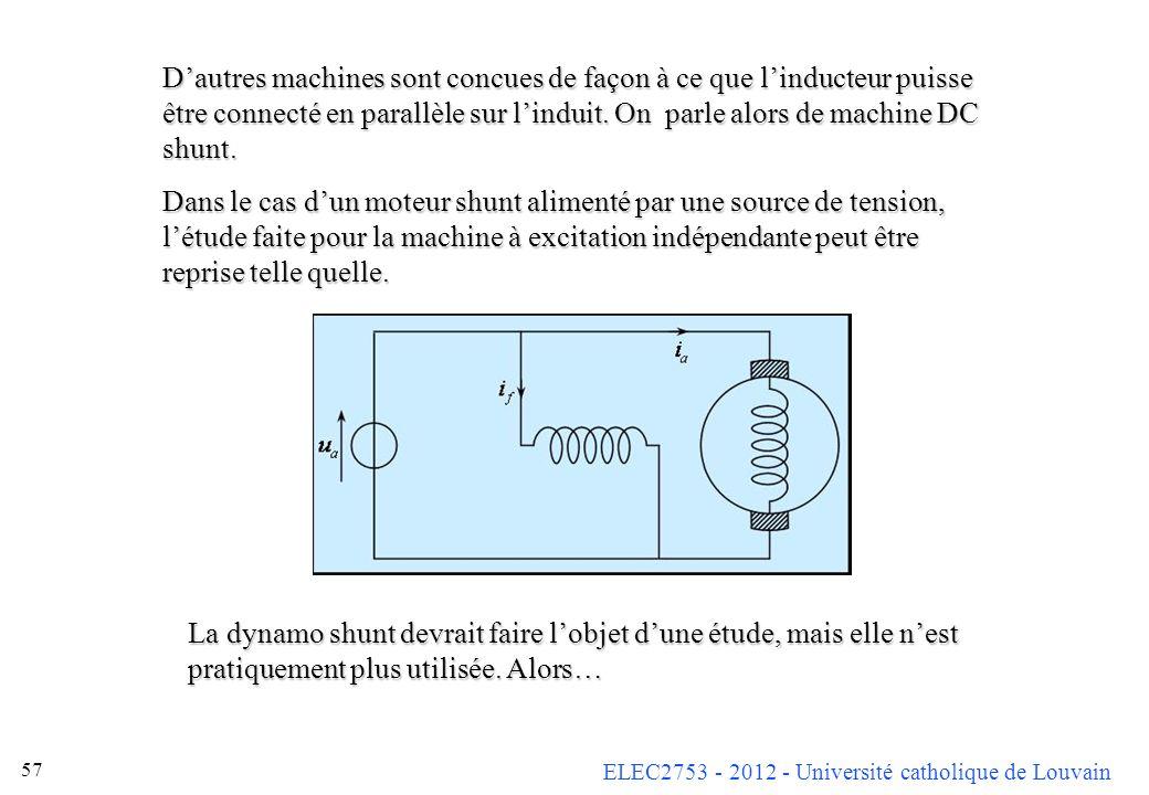 D'autres machines sont concues de façon à ce que l'inducteur puisse être connecté en parallèle sur l'induit. On parle alors de machine DC shunt.