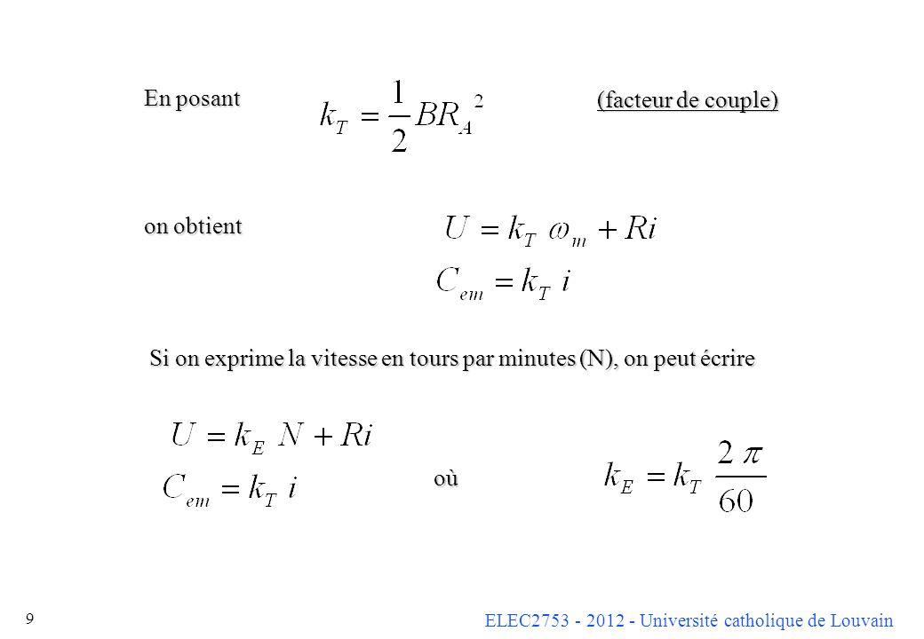 En posant on obtient. (facteur de couple) Si on exprime la vitesse en tours par minutes (N), on peut écrire.