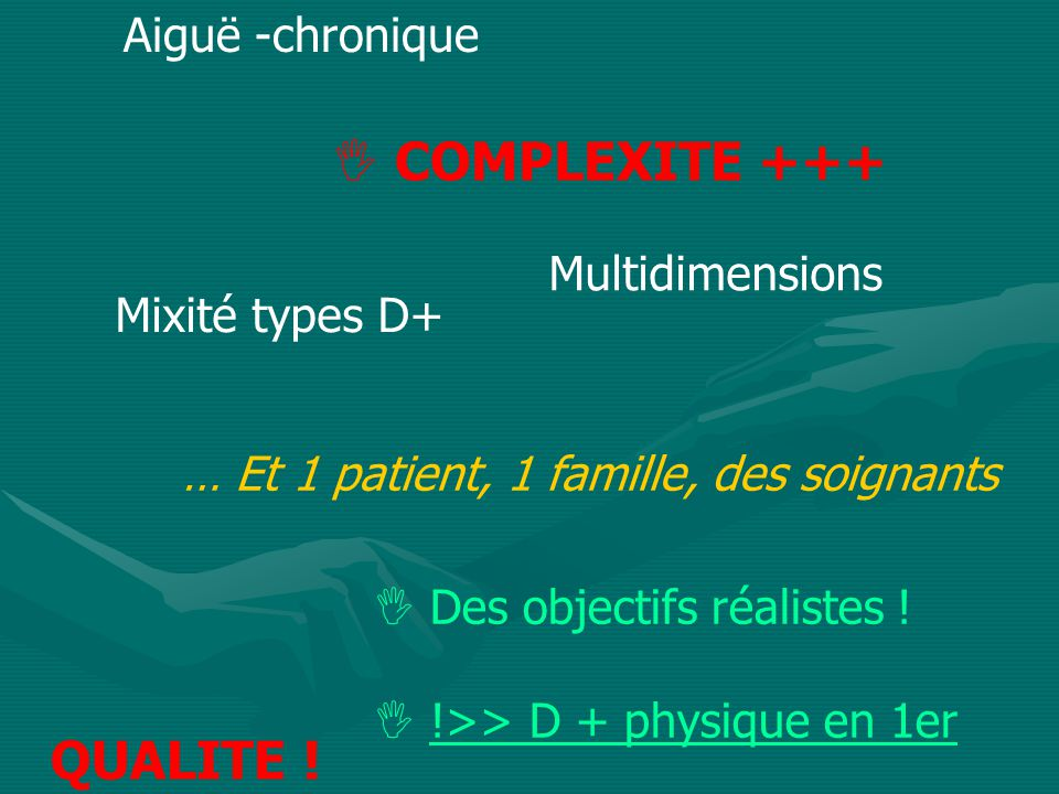 COMPLEXITE +++ QUALITE ! Aiguë -chronique Multidimensions