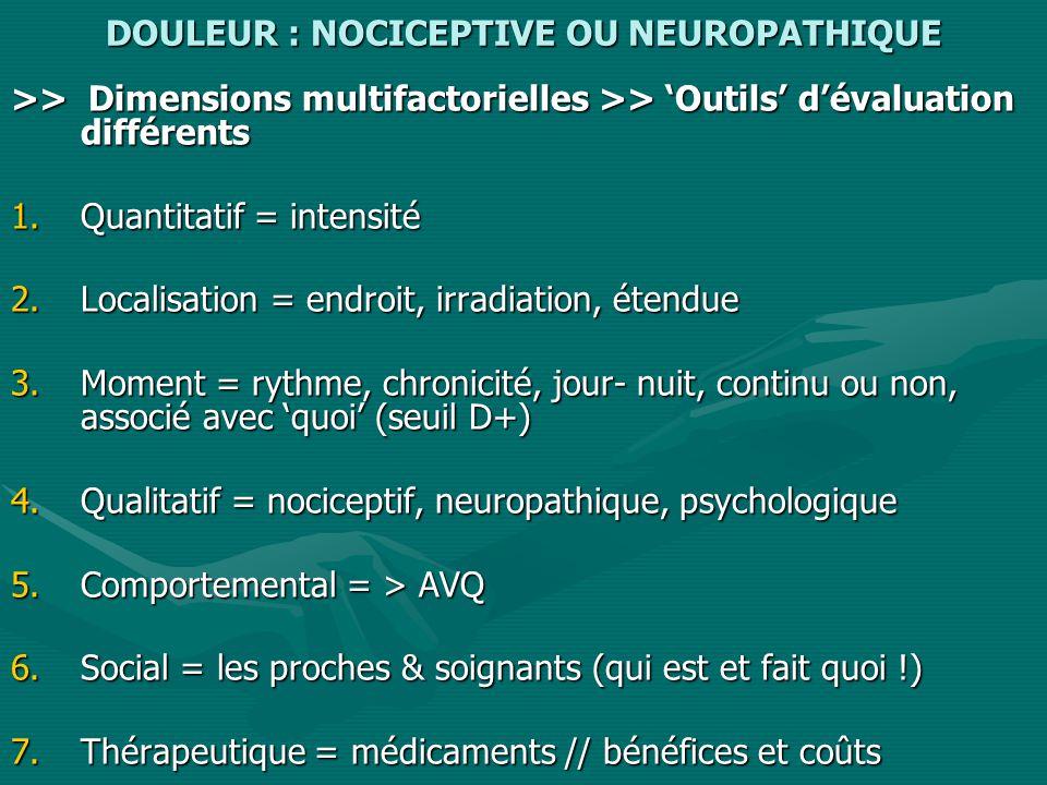 DOULEUR : NOCICEPTIVE OU NEUROPATHIQUE