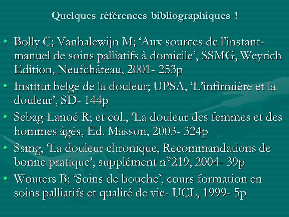 Quelques références bibliographiques !