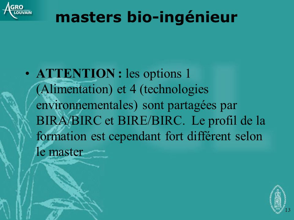 masters bio-ingénieur