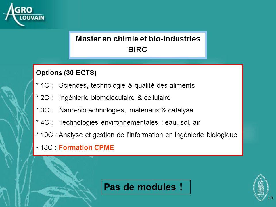 Master en chimie et bio-industries BIRC