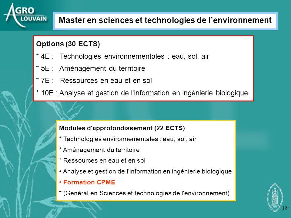 Master en sciences et technologies de l'environnement