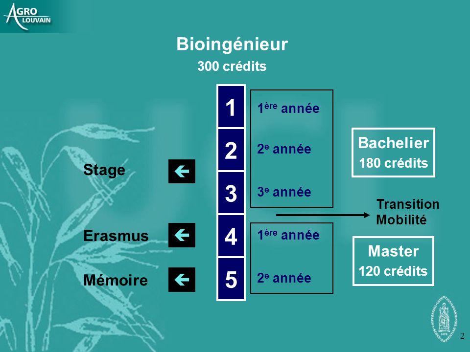 1 2 3 4 5 Bioingénieur    Bachelier Stage Erasmus Master Mémoire
