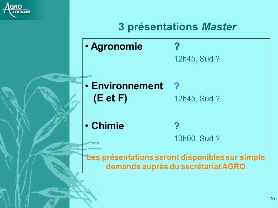 3 présentations Master Agronomie 12h45, Sud Environnement