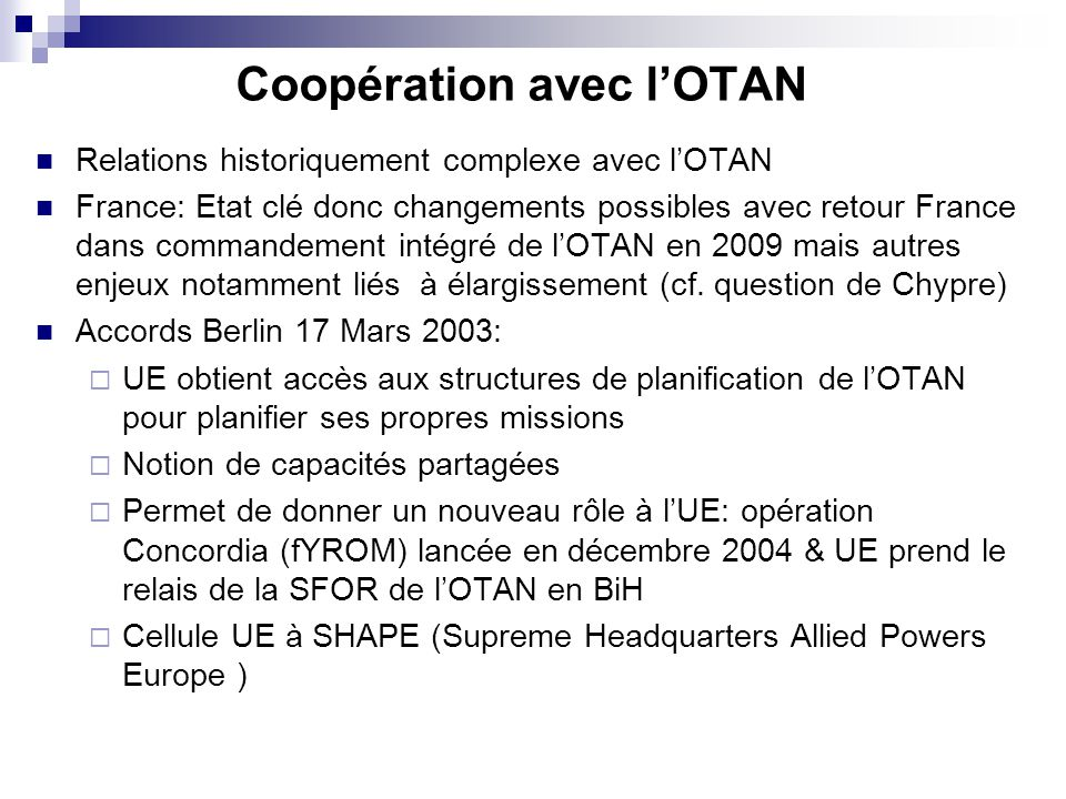 Coopération avec l'OTAN