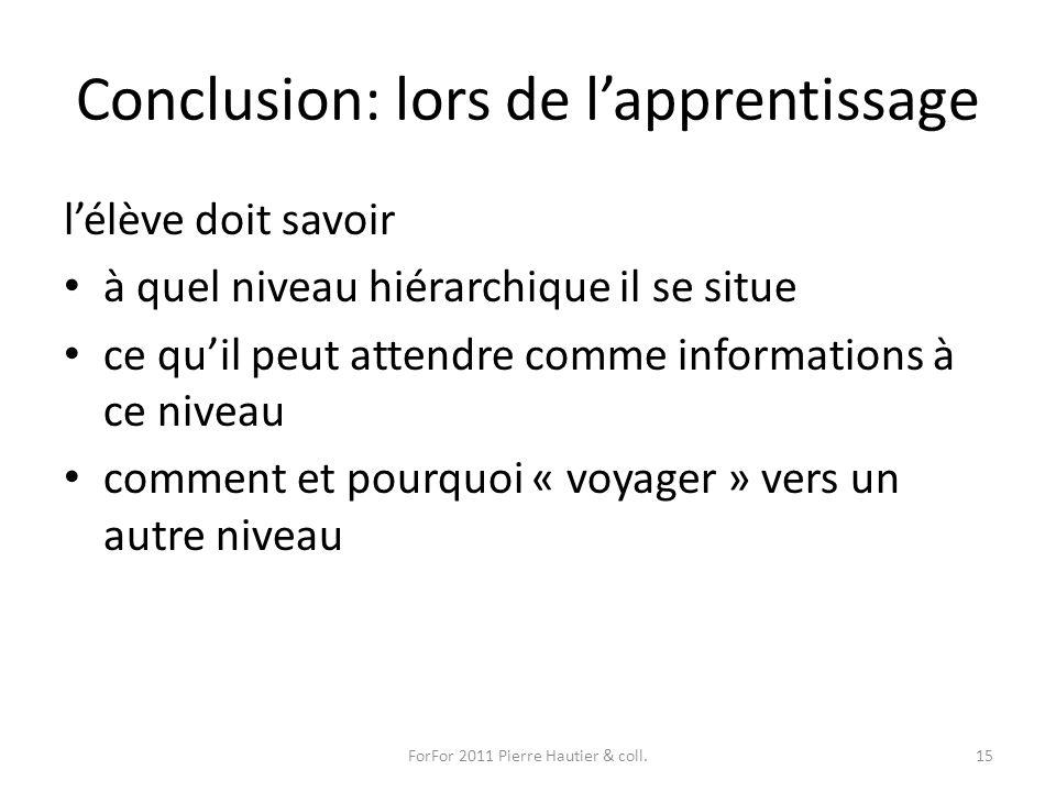 Conclusion: lors de l'apprentissage