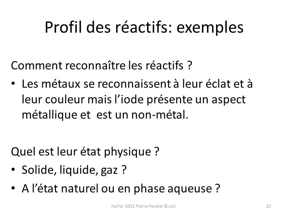 Profil des réactifs: exemples