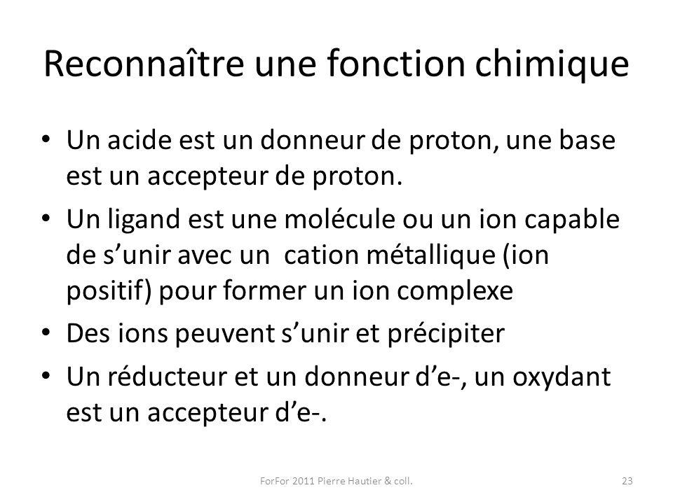 Reconnaître une fonction chimique