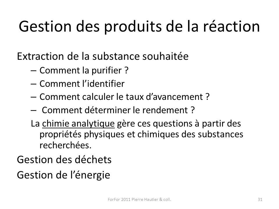 Gestion des produits de la réaction