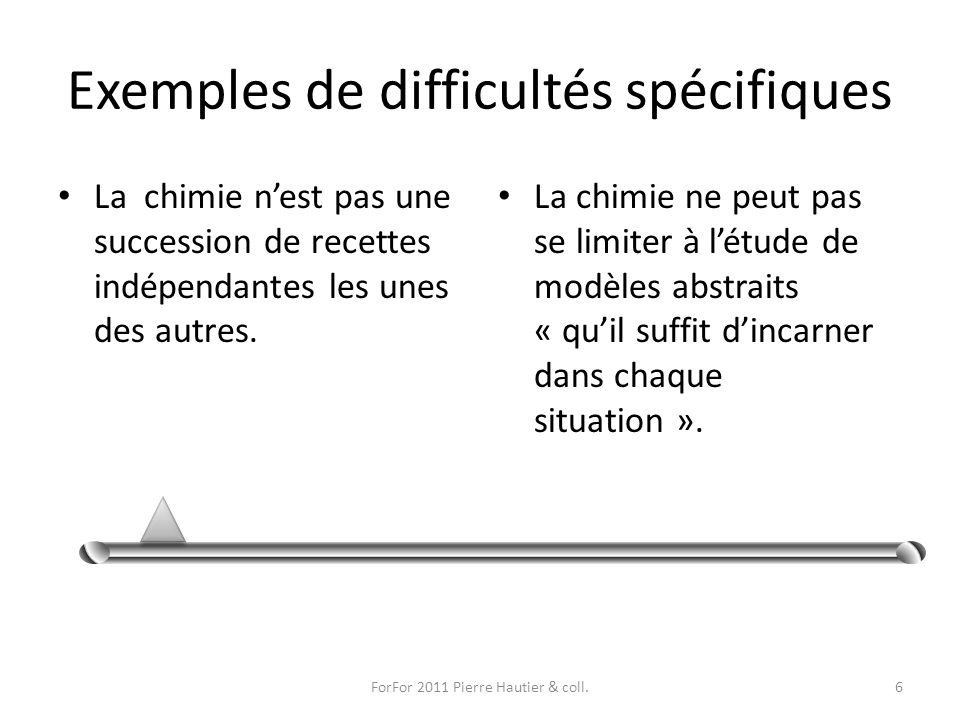 Exemples de difficultés spécifiques