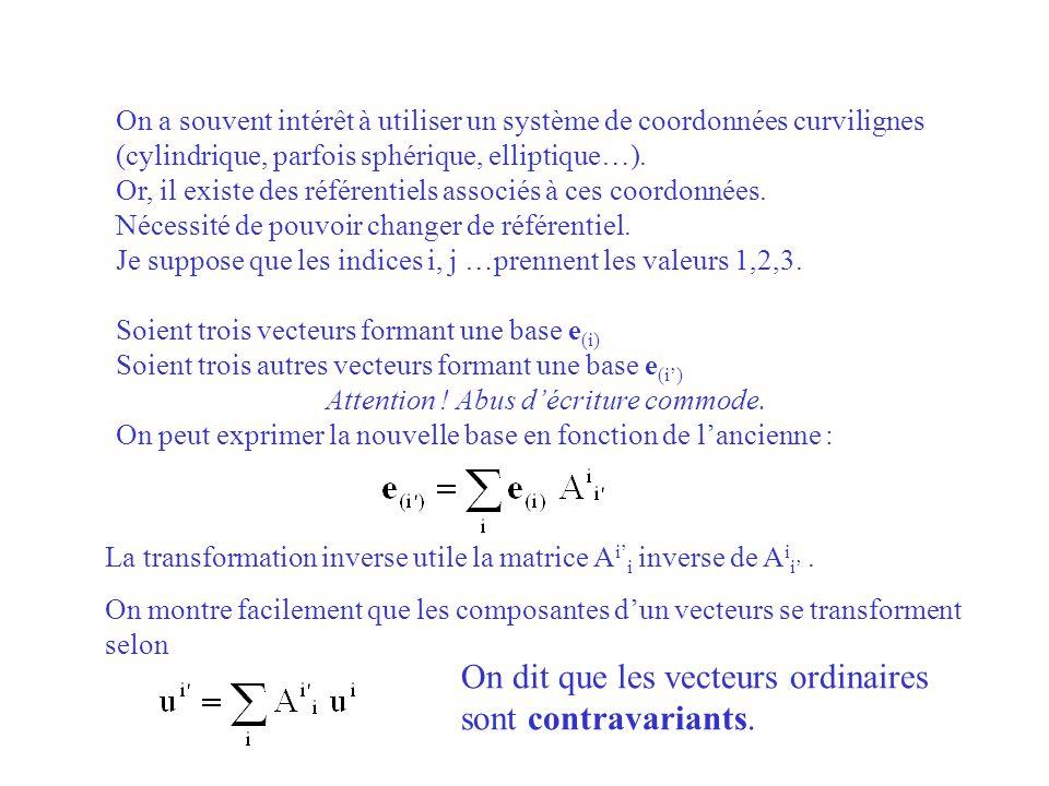 On dit que les vecteurs ordinaires sont contravariants.