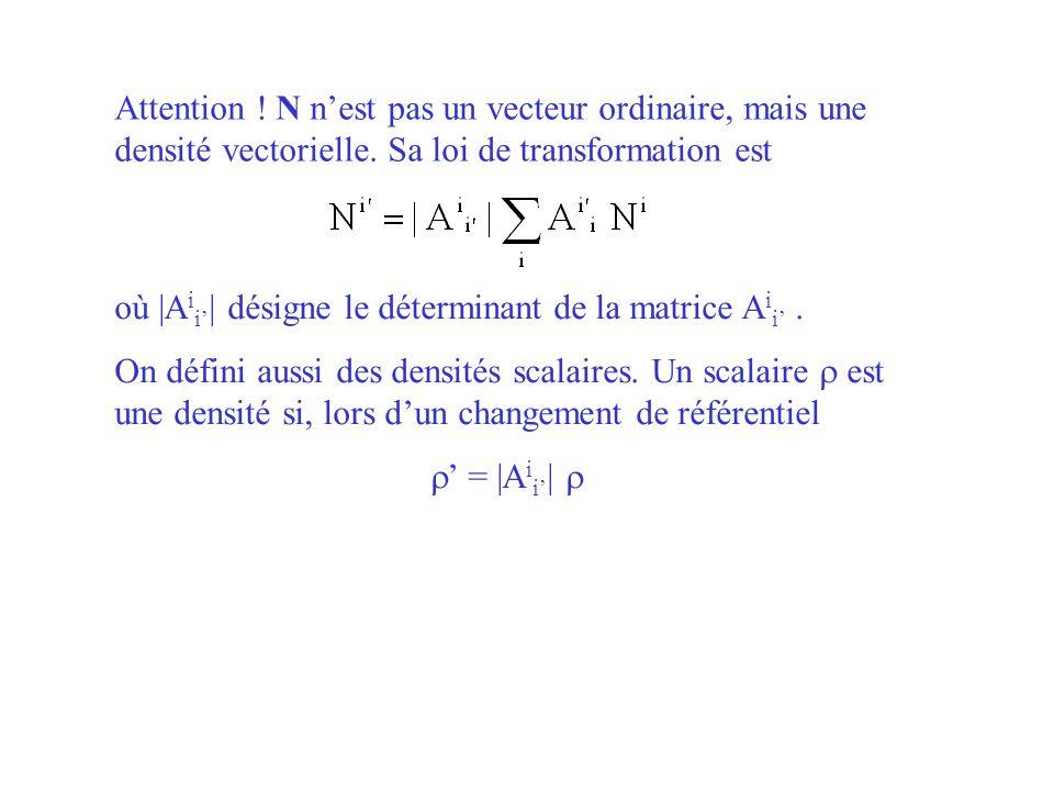 Attention ! N n'est pas un vecteur ordinaire, mais une densité vectorielle. Sa loi de transformation est