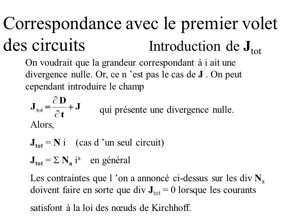 Correspondance avec le premier volet des circuits Introduction de Jtot