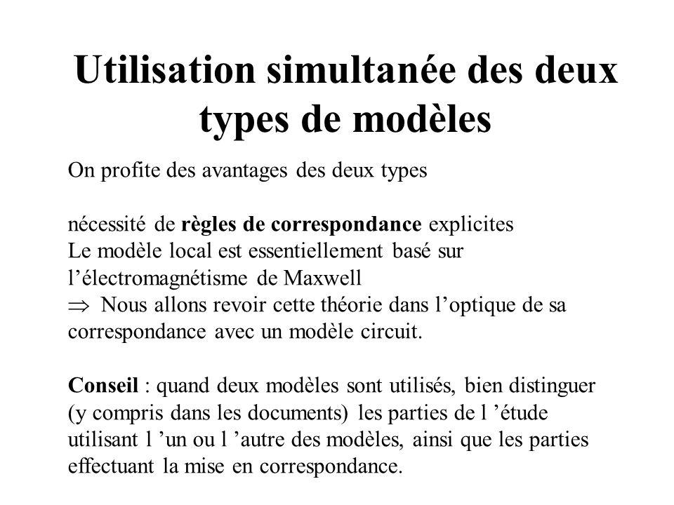 Utilisation simultanée des deux types de modèles