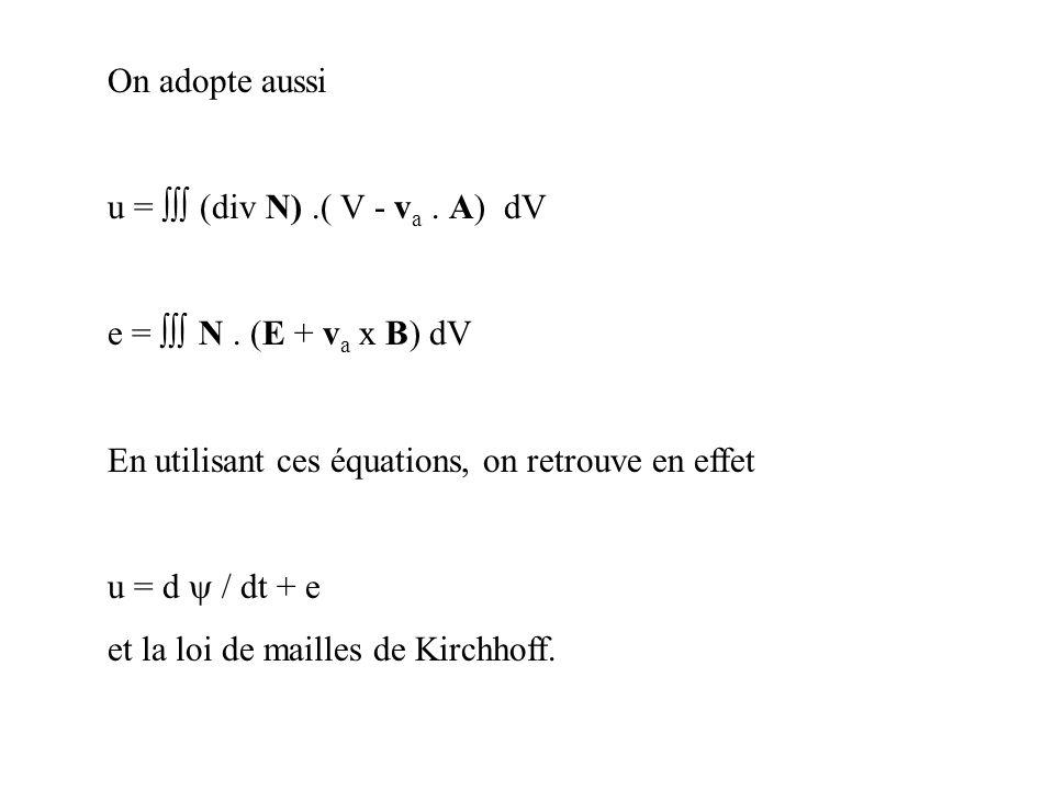 On adopte aussi u =  (div N) .( V - va . A) dV. e =  N . (E + va x B) dV. En utilisant ces équations, on retrouve en effet.