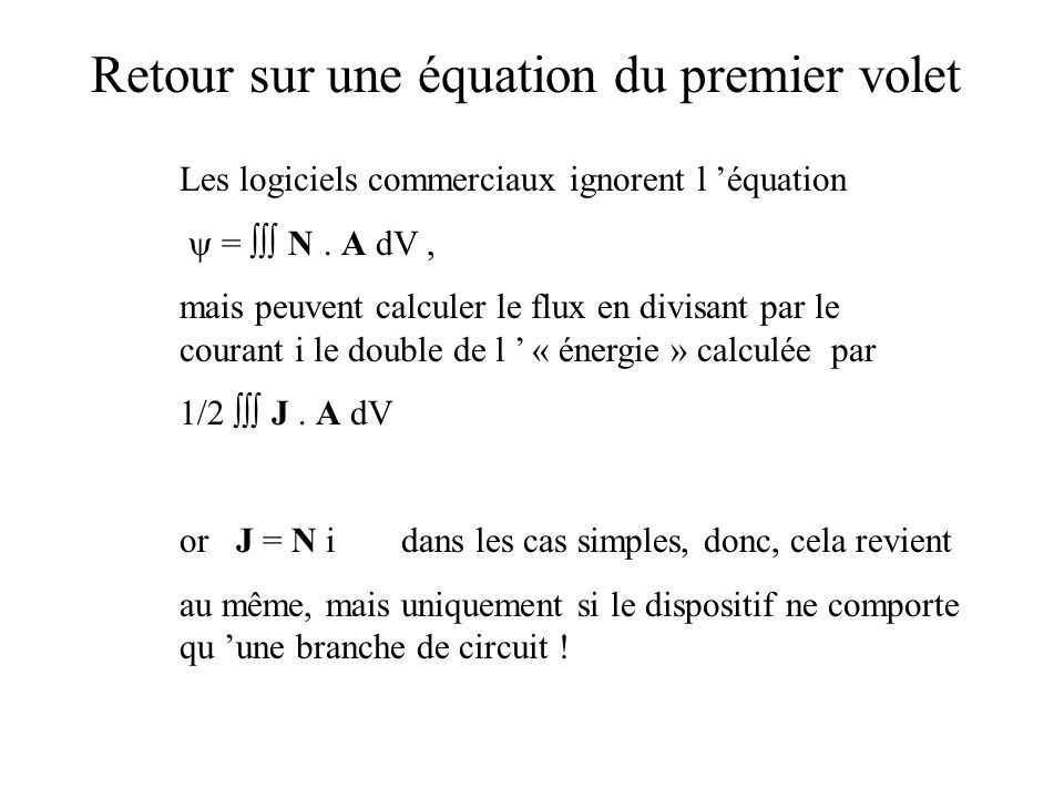 Retour sur une équation du premier volet