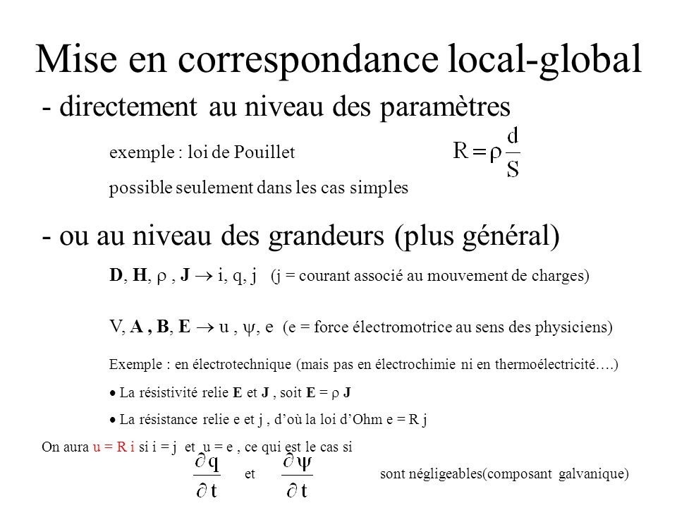 Mise en correspondance local-global