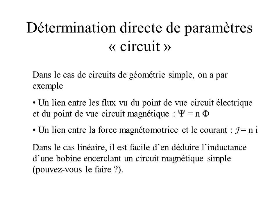 Détermination directe de paramètres « circuit »