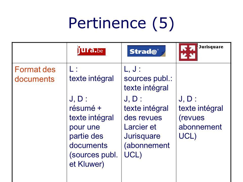 Pertinence (5) Format des documents L : texte intégral