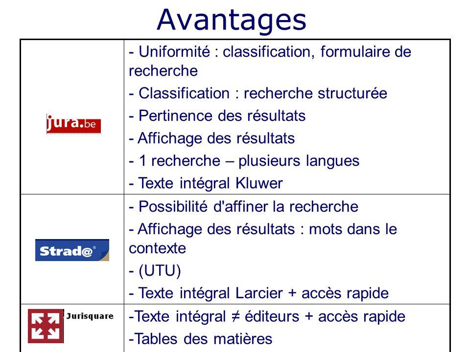 Avantages Uniformité : classification, formulaire de recherche
