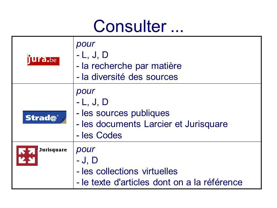 Consulter ... pour - L, J, D - la recherche par matière - la diversité des sources.
