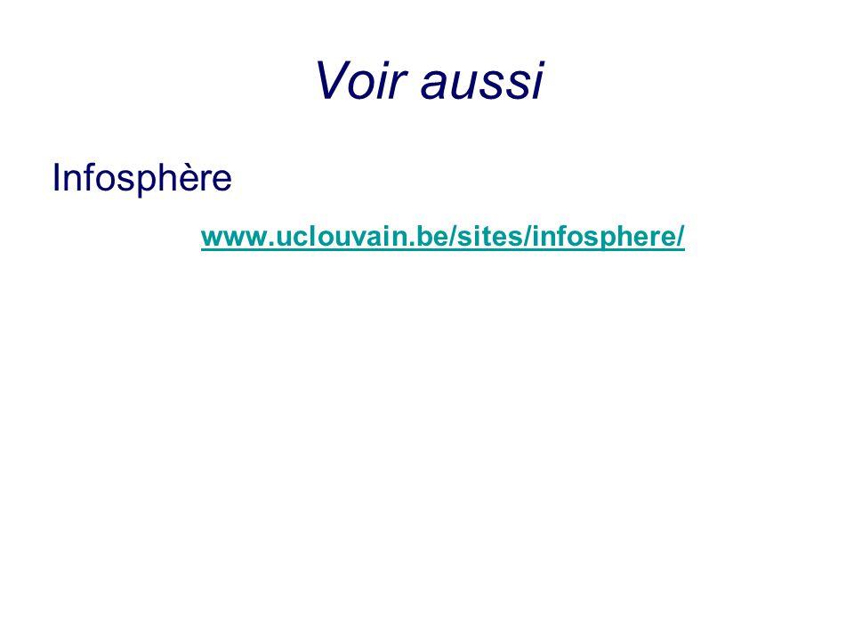 Voir aussi Infosphère www.uclouvain.be/sites/infosphere/