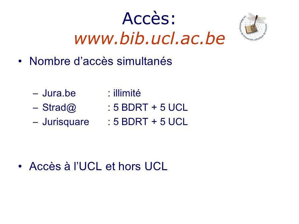 Accès: www.bib.ucl.ac.be Nombre d'accès simultanés