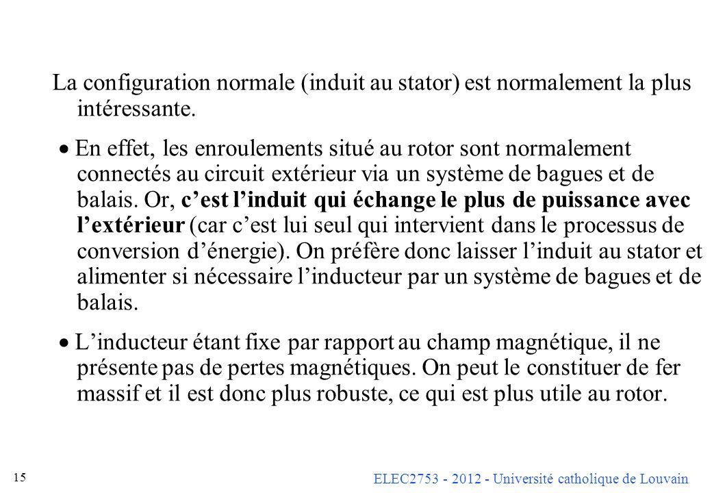La configuration normale (induit au stator) est normalement la plus intéressante.