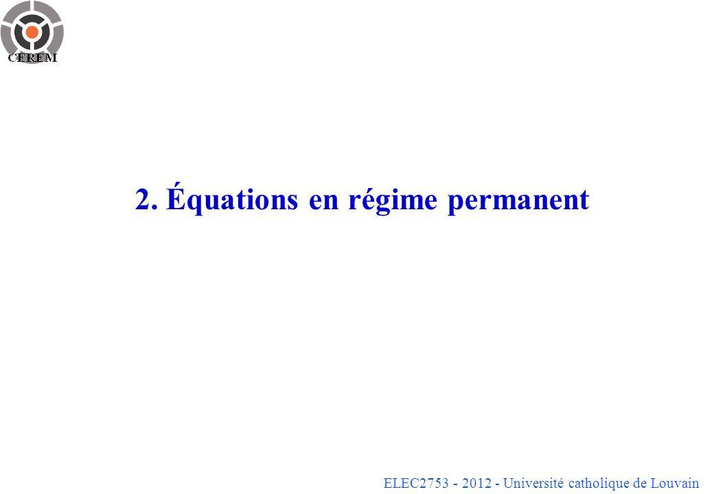 2. Équations en régime permanent