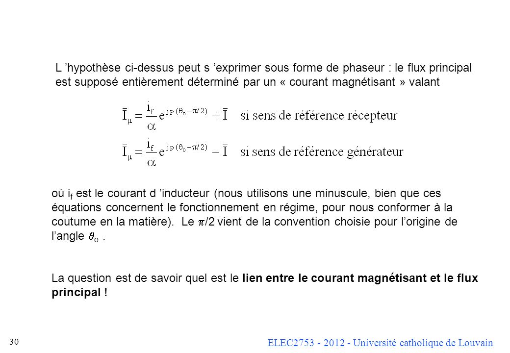 L 'hypothèse ci-dessus peut s 'exprimer sous forme de phaseur : le flux principal est supposé entièrement déterminé par un « courant magnétisant » valant