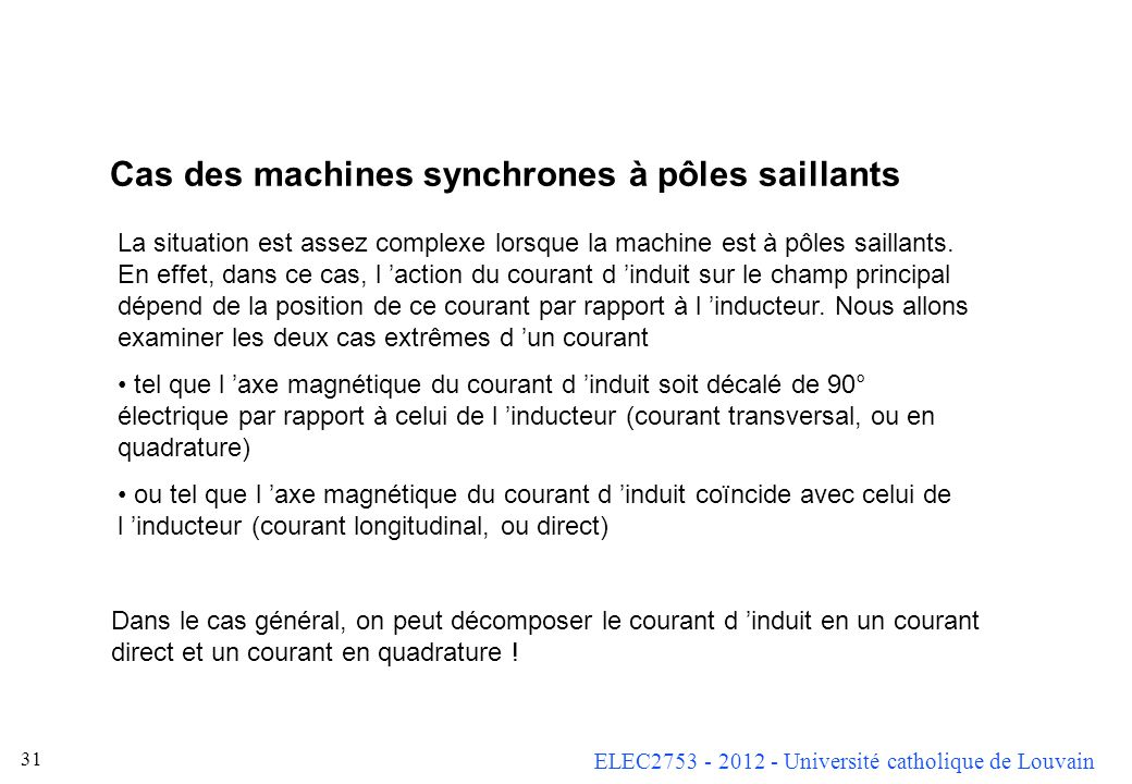 Cas des machines synchrones à pôles saillants