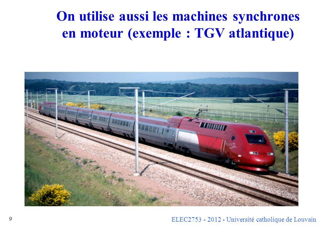 On utilise aussi les machines synchrones en moteur (exemple : TGV atlantique)