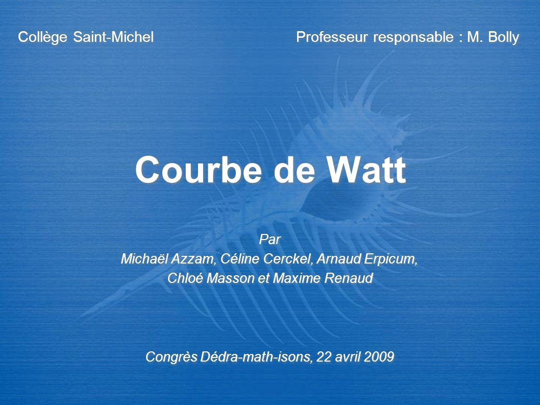 Courbe de Watt Collège Saint-Michel Professeur responsable : M. Bolly