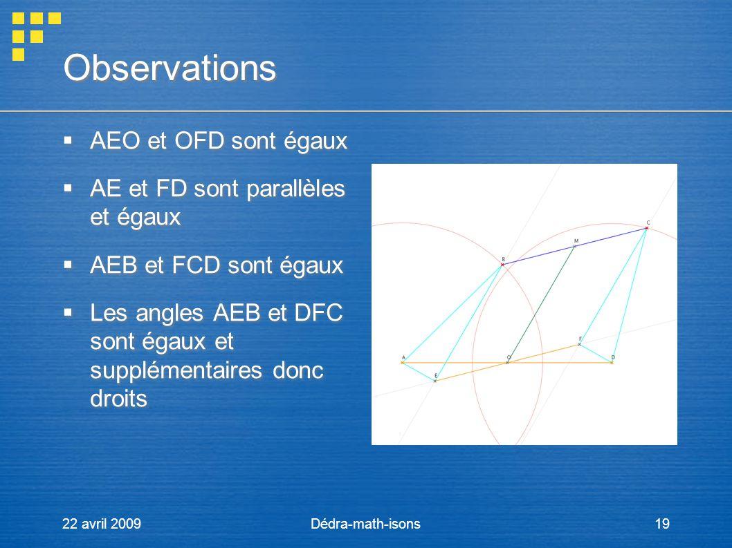 Observations AEO et OFD sont égaux AE et FD sont parallèles et égaux