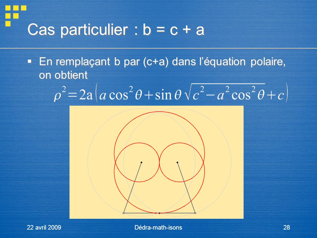 Cas particulier : b = c + a