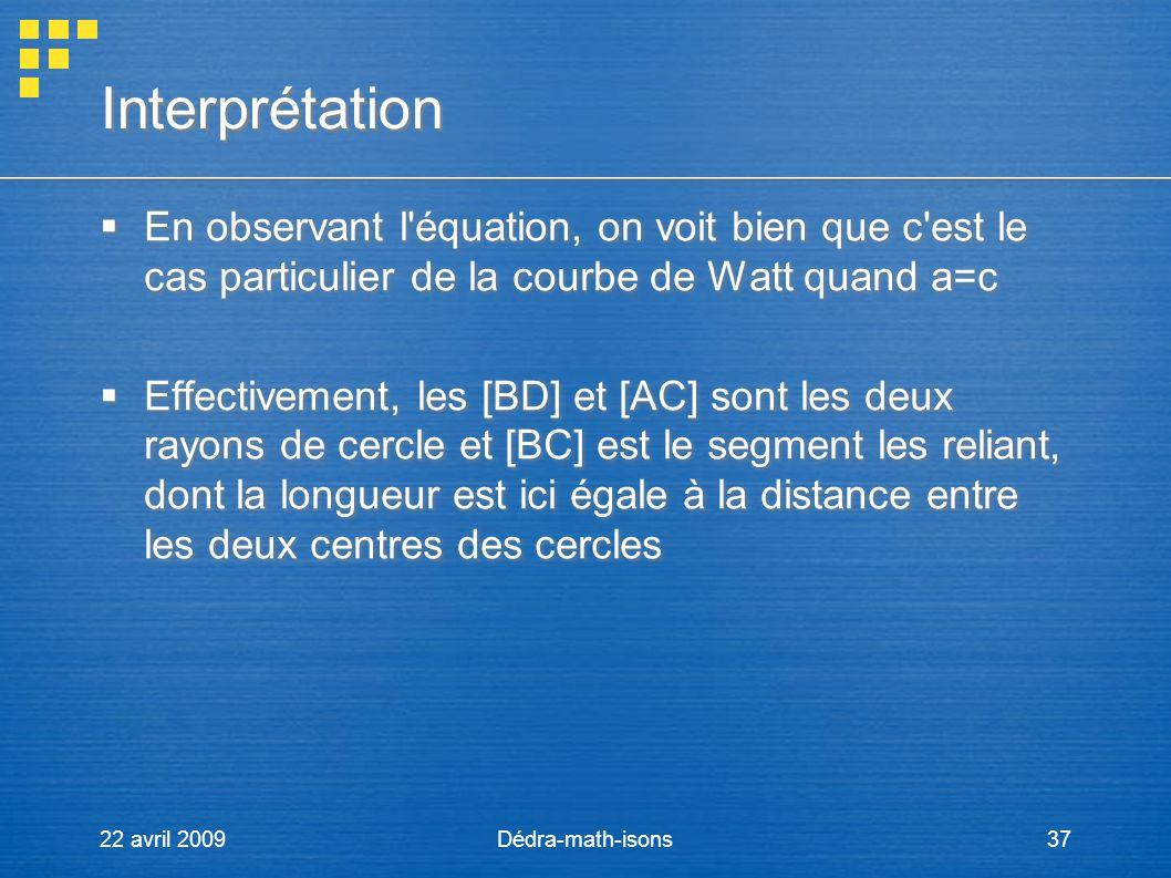 Interprétation En observant l équation, on voit bien que c est le cas particulier de la courbe de Watt quand a=c.