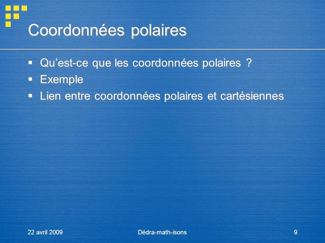Coordonnées polaires Qu'est-ce que les coordonnées polaires Exemple