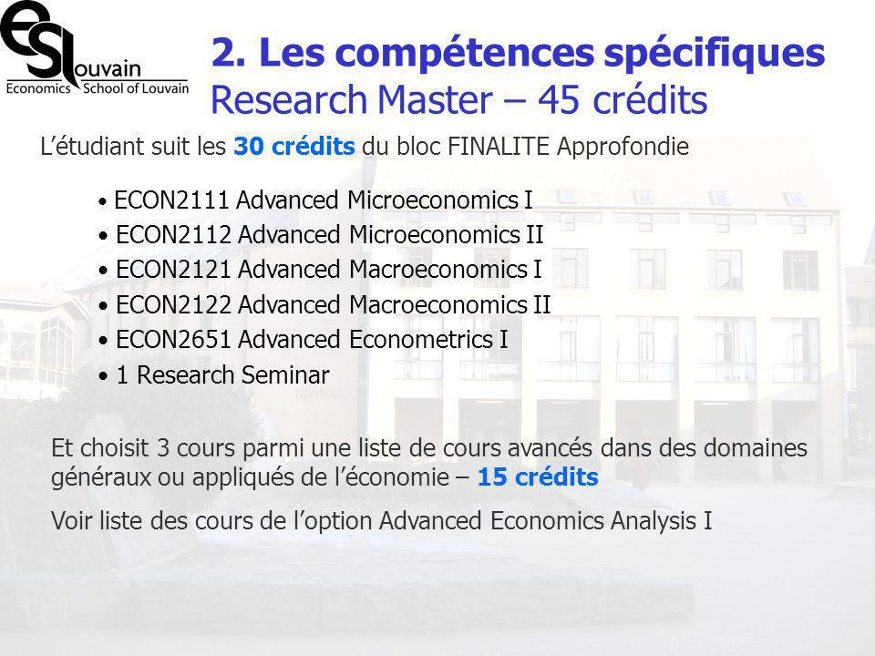 2. Les compétences spécifiques Research Master – 45 crédits