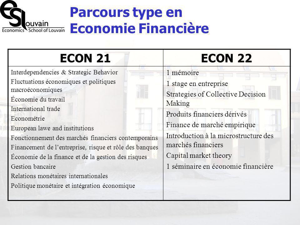 Parcours type en Economie Financière
