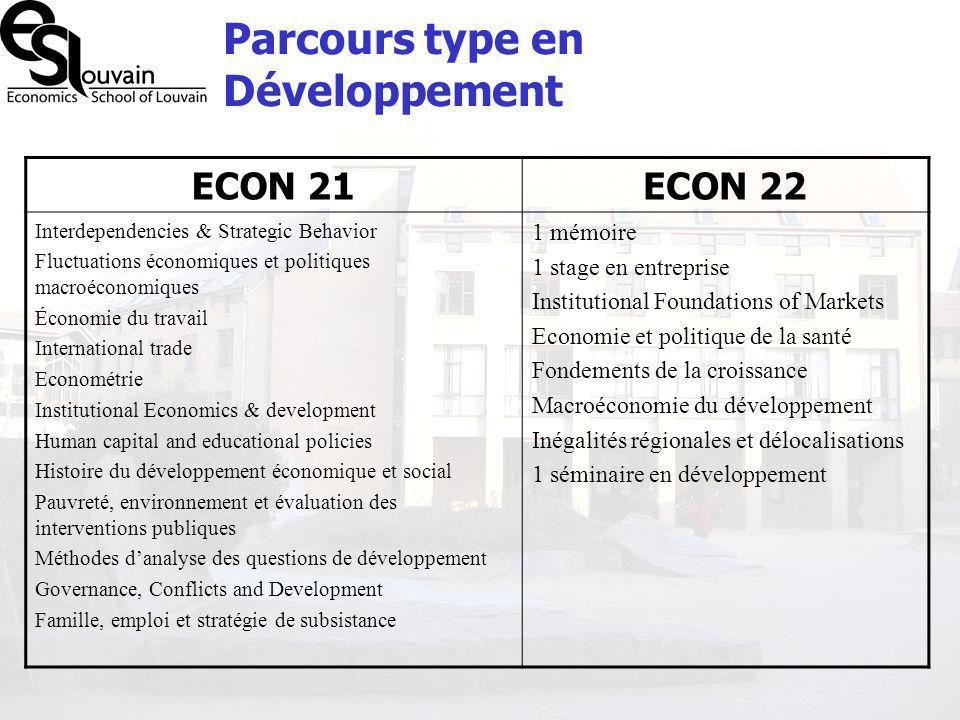 Parcours type en Développement