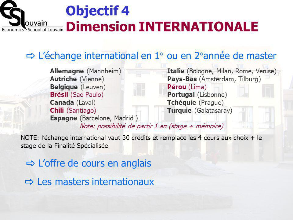 Objectif 4 Dimension INTERNATIONALE