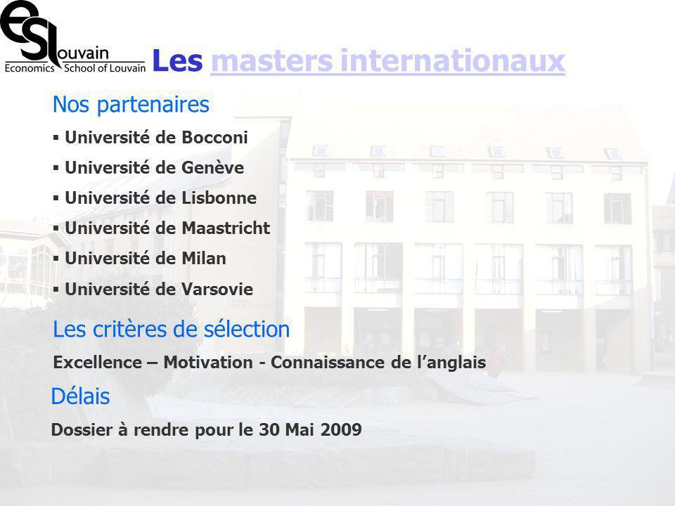 Les masters internationaux