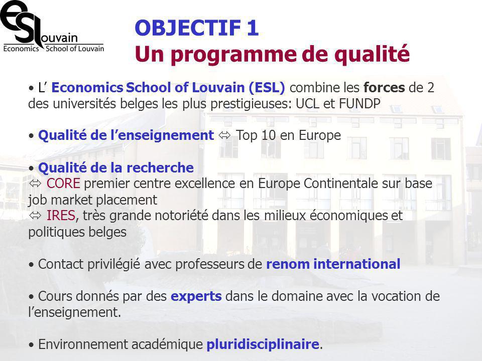 OBJECTIF 1 Un programme de qualité
