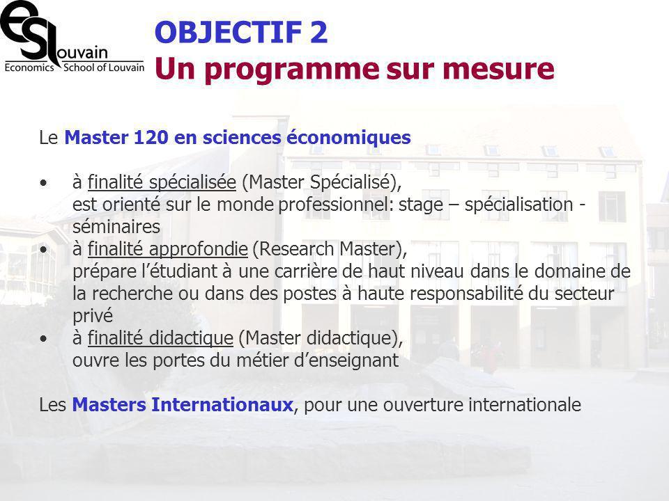 OBJECTIF 2 Un programme sur mesure