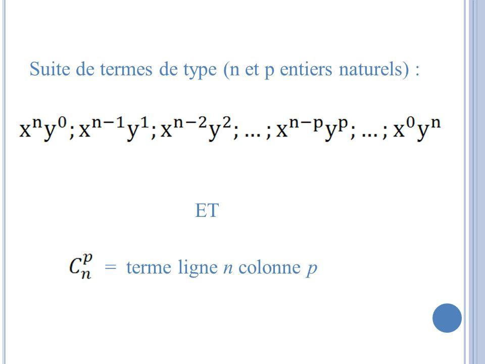 Suite de termes de type (n et p entiers naturels) : ET = terme ligne n colonne p