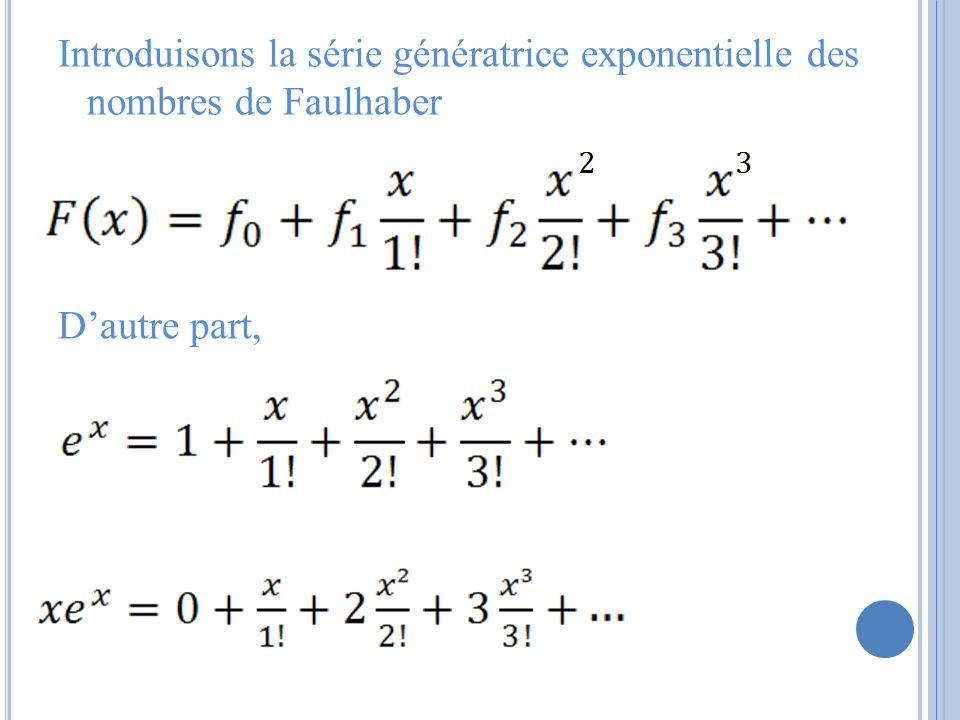 Introduisons la série génératrice exponentielle des nombres de Faulhaber D'autre part,