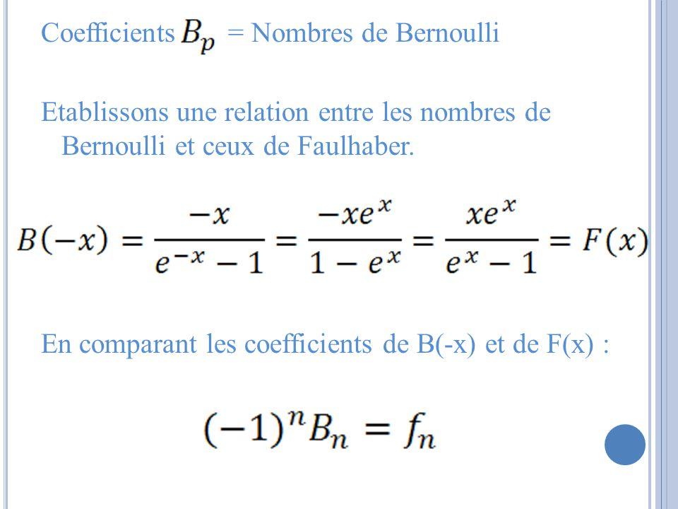 Coefficients = Nombres de Bernoulli Etablissons une relation entre les nombres de Bernoulli et ceux de Faulhaber.